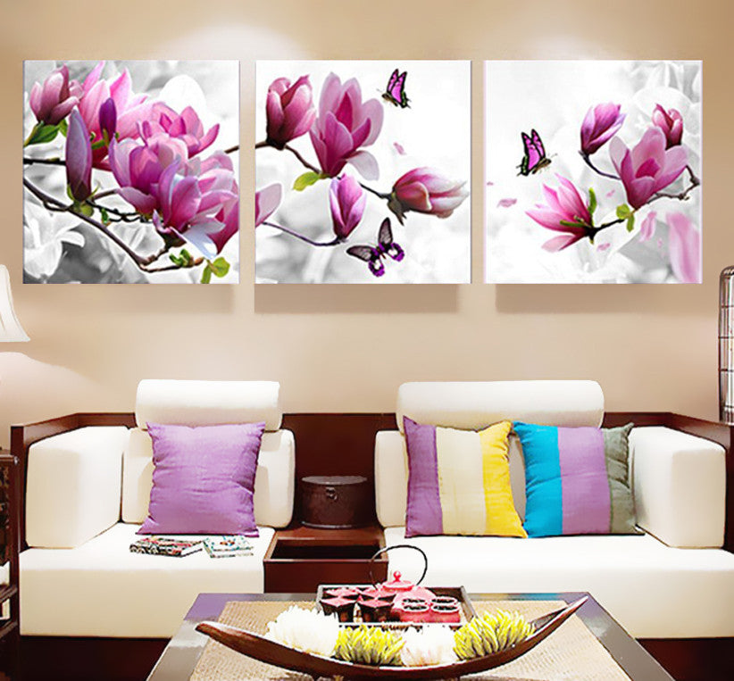 3 Piece Magnolia flower butterfly Canvas - Home Wall Deco