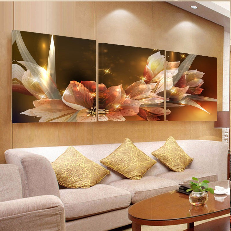 3 Piece Flowers Canvas - Home Wall Deco