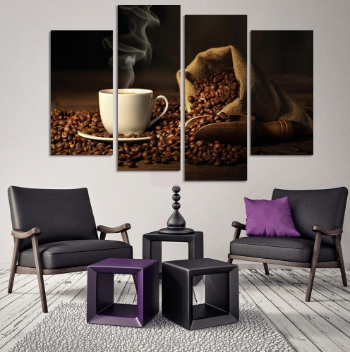 Coffee Break 4 Piece Canvas Wall Art - Home Wall Deco