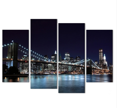 City Night View 4 Piece Wall Art Canvas - Home Wall Deco