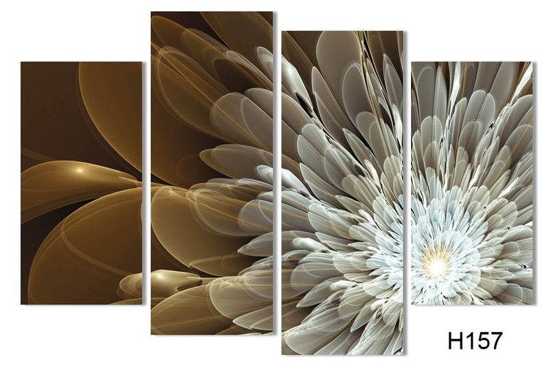 Wealth And Luxury Golden Flowers Canvas 4 Pcs Wall Art - Home Wall Deco