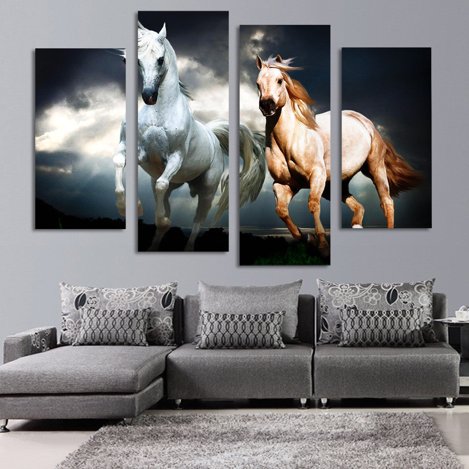 4 Pcs Running Horse Painting Canvas - Home Wall Deco