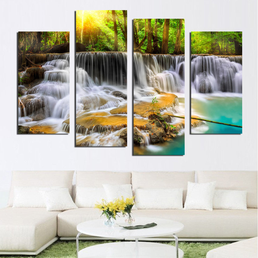 4 Pcs Waterfall Canvas Painting - Home Wall Deco