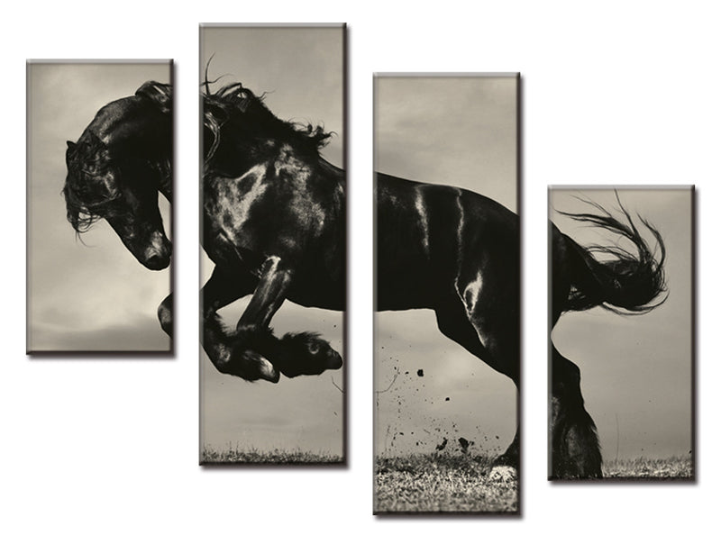 4 Pcs Jumping Black Horse Canvas - Home Wall Deco