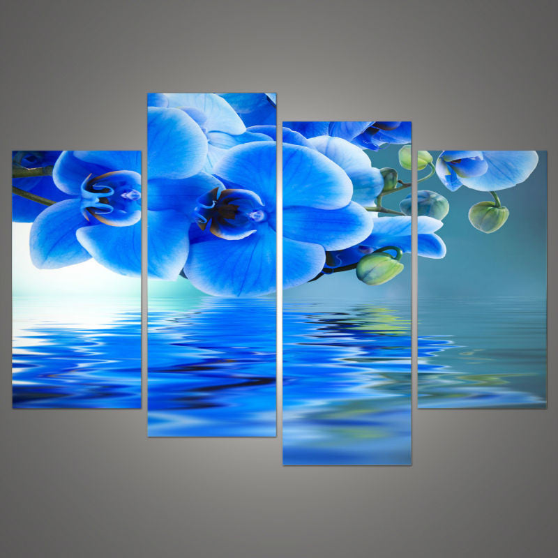 4 piedes Blue Orchid Flower Canvas - Home Wall Deco