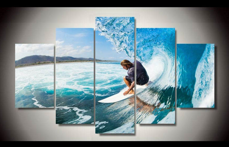 Surf 5 Pcs Painting Wall Art Canvas - Home Wall Deco