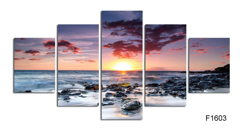 5 Piece sunrise on the sea Canvas Print - Home Wall Deco