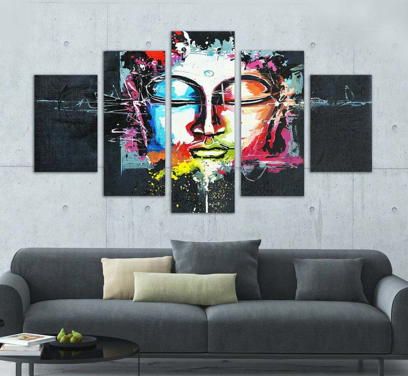 Abstract Buddha 5 Piece Canvas - Home Wall Deco