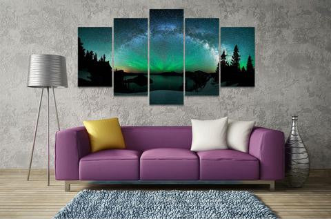 5 Piece  RAINBOW MILKY WAY CANVAS - Home Wall Deco