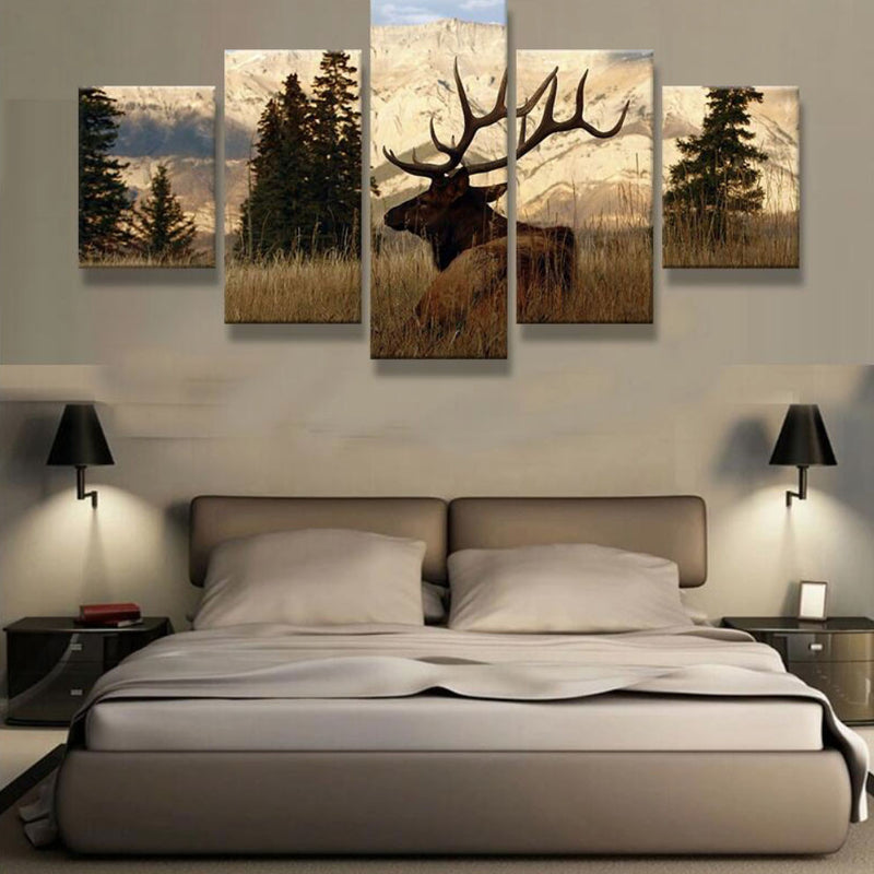 ELK IN THE WOODS 5 Piece CANVAS - Home Wall Deco
