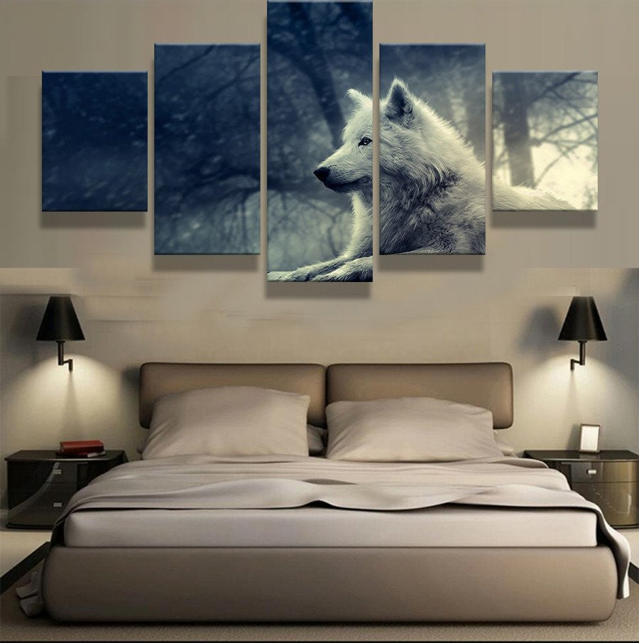 WOLF GAZE 5 PIECE CANVAS - Home Wall Deco