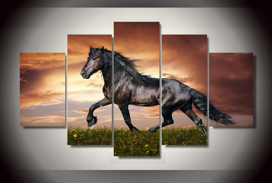 5 Piece running horse canvas - Home Wall Deco