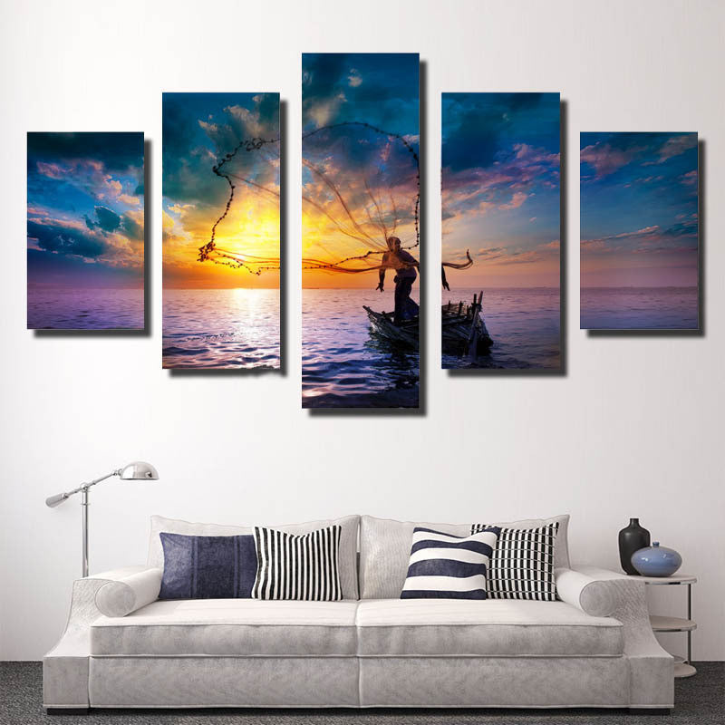 5 Piece fishing CANVAS - Home Wall Deco