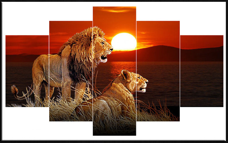 5 Piece lions Canvas - Home Wall Deco