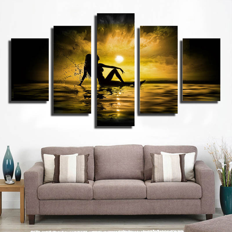 5 Piece sunrise at seabeach Canvas - Home Wall Deco