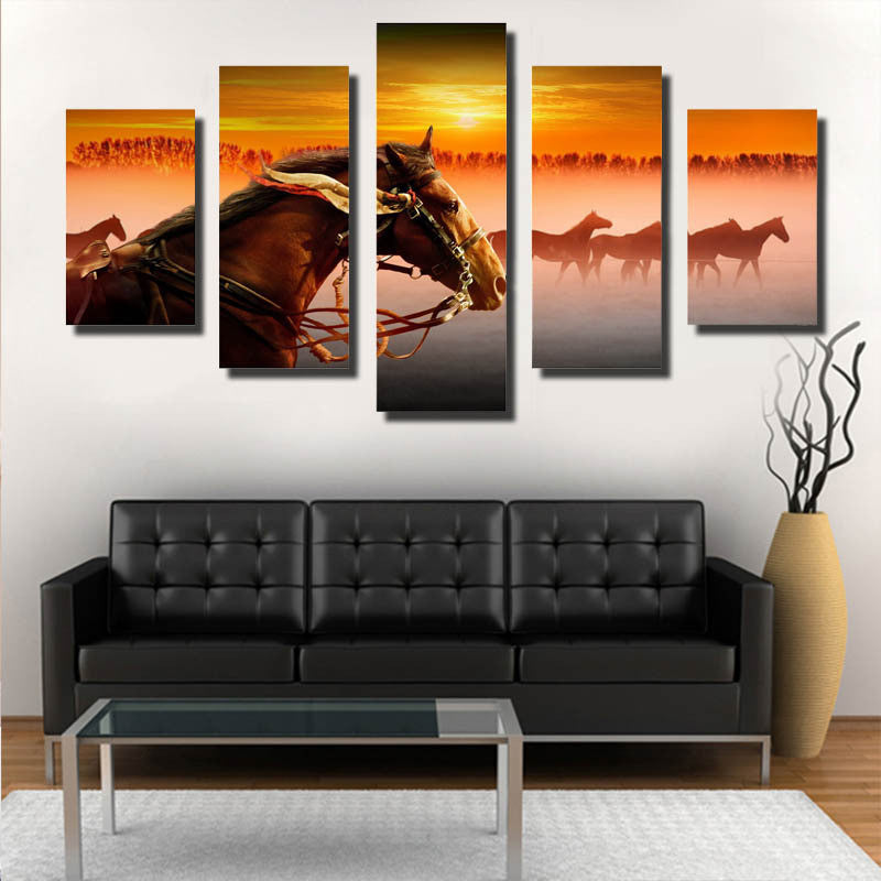 5 Piece horse Canvas - Home Wall Deco