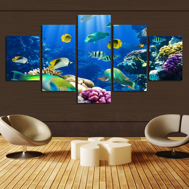 5 Piece Colorfull Underwater World Canvas - Home Wall Deco