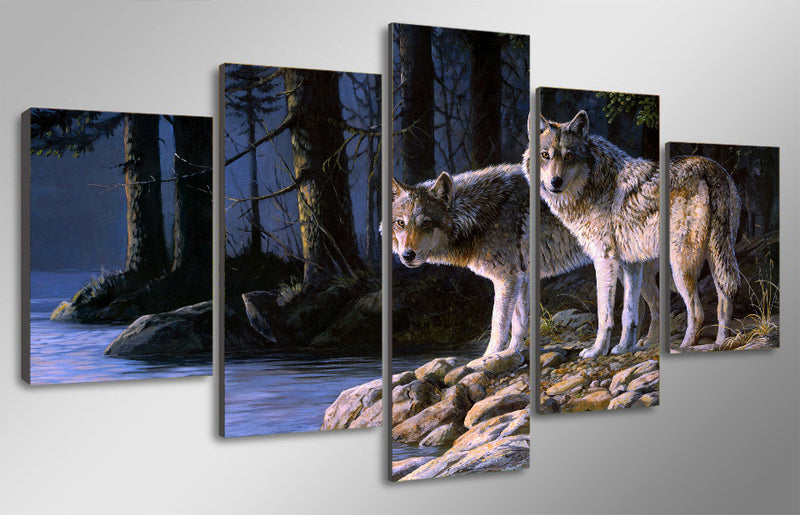 5 Piece Animal two wolves - Home Wall Deco