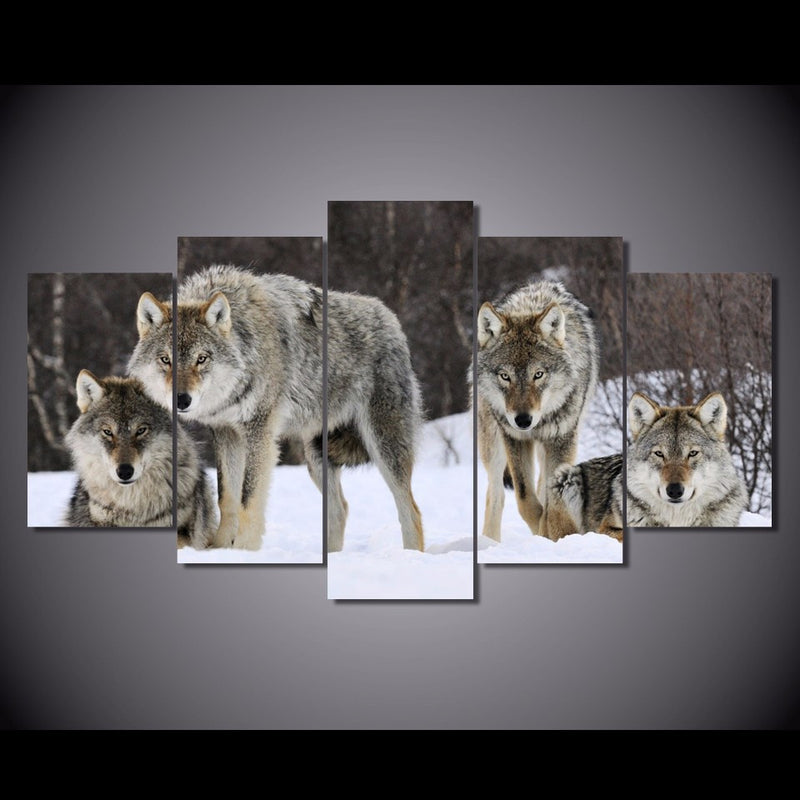 5 Piece wolf Animal Canvas - Home Wall Deco