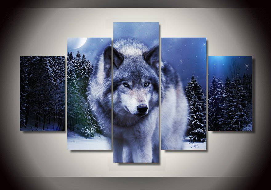 5 Piece Snow Wolf Canvas - Home Wall Deco