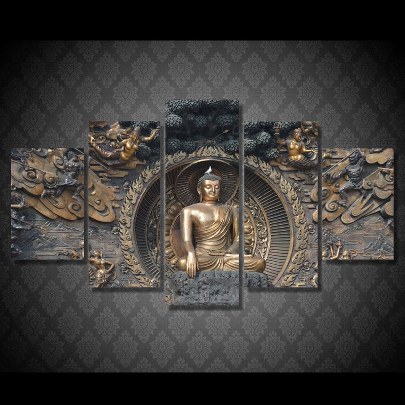 5 Piece Buddha statue Canvas - Home Wall Deco