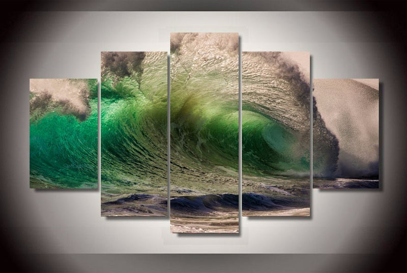 5 Piece waves Painting Canvas - Home Wall Deco