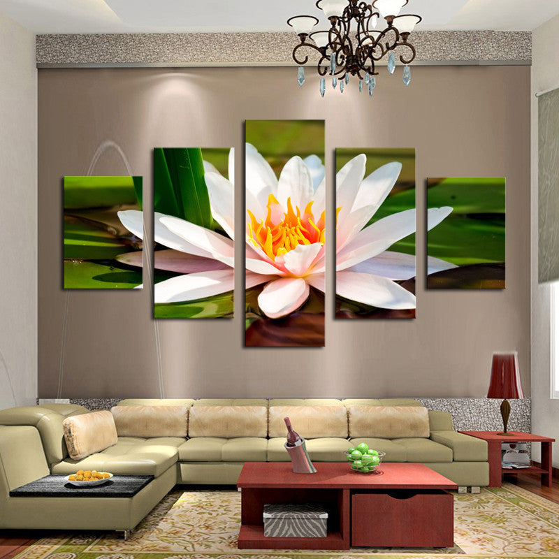 5 Piece Water White Flowers Canvas - Home Wall Deco