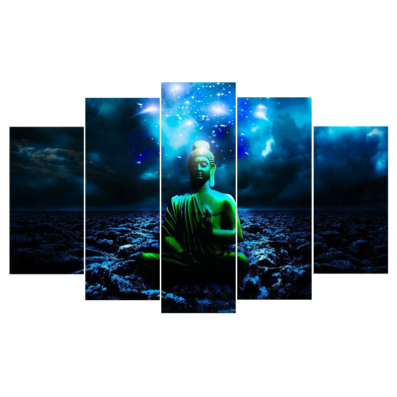 5 Piece Buddha Canvas - Home Wall Deco