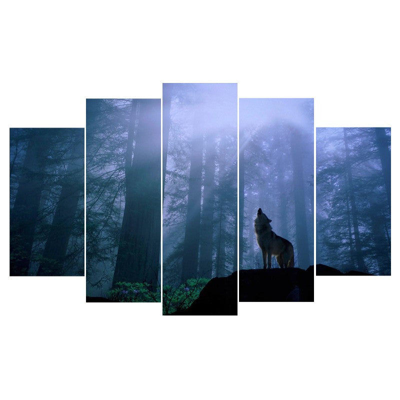 5 Piece long wolf Canvas - Home Wall Deco