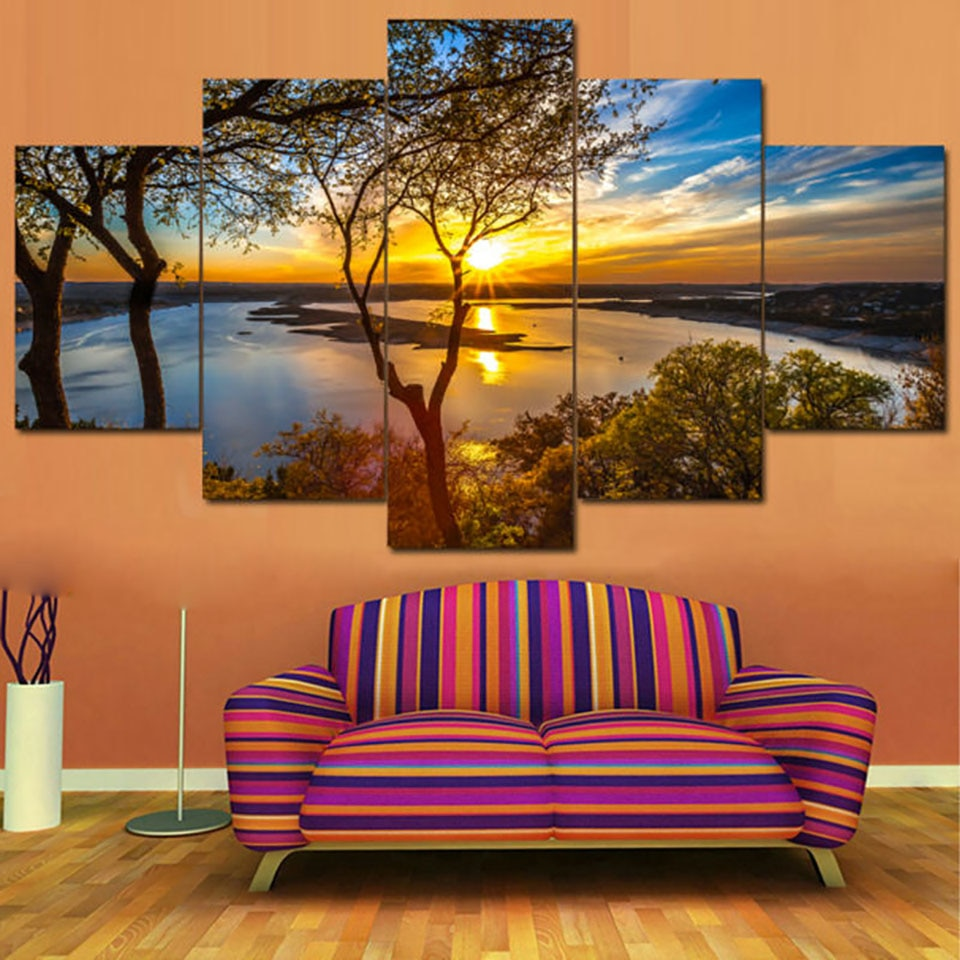 5 Pieces Beautiful Sunrise Natural Landscape - Home Wall Deco