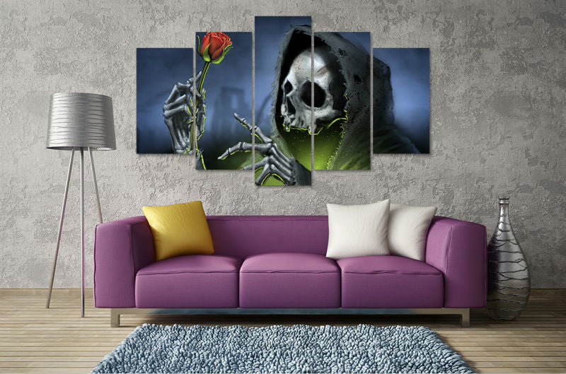 skull rose red flower black hat ark love mist home wall decor Canvas Art - Home Wall Deco