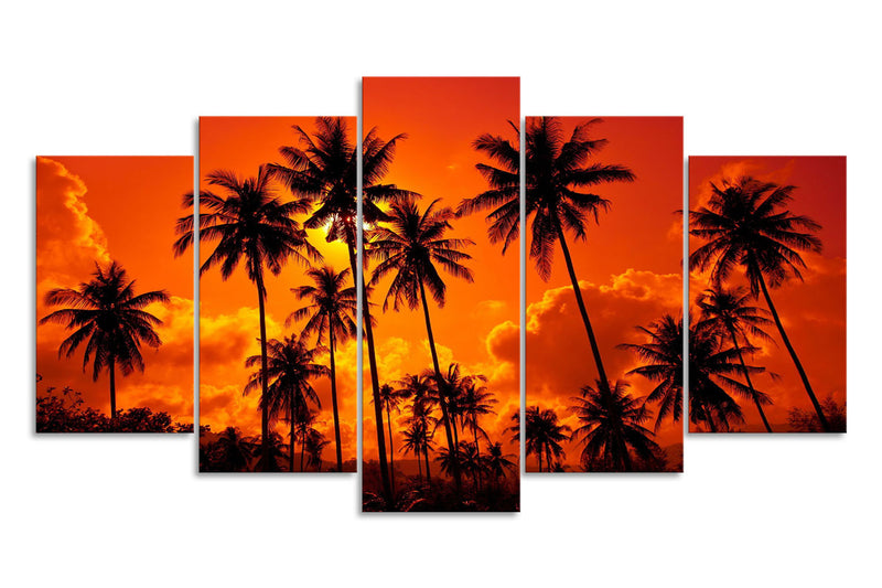 HD Printed Red Sunset Sky With Palm 5 Piece Canvas - Home Wall Deco