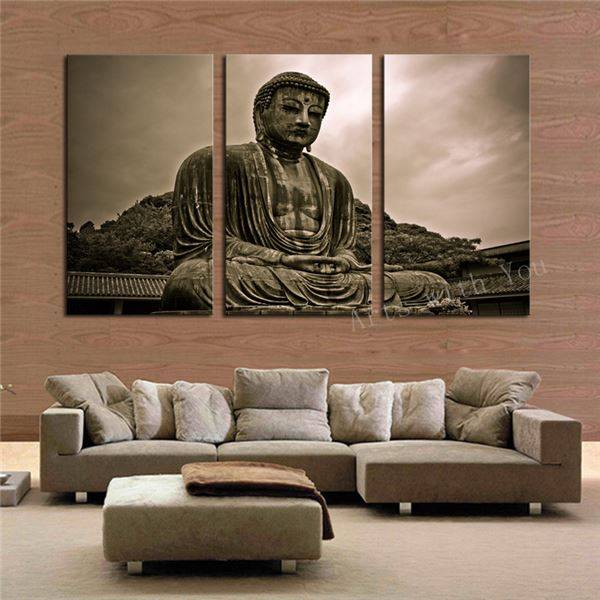 3 Pieces Buddha Canvas Artwork - Home Wall Deco