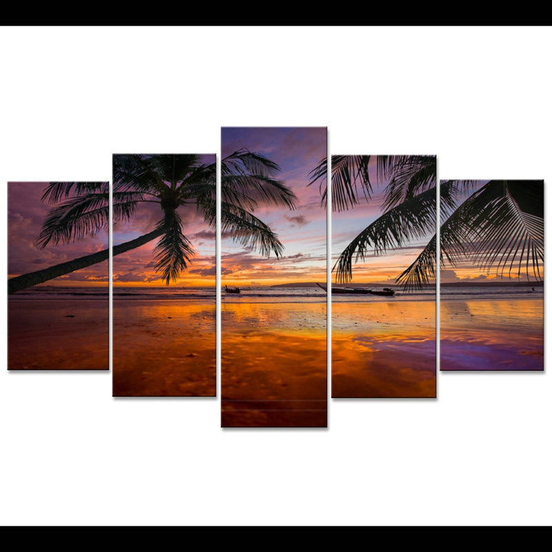 5 Pieces Coconut Sunset Beach Sea View - Home Wall Deco