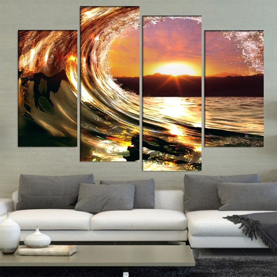 4 Pieces Rolling Sea Wave Sunrise Canvas Painting - Home Wall Deco