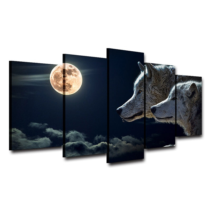 Moon and Wolves wall art on Canvas Canvas Art - Home Wall Deco
