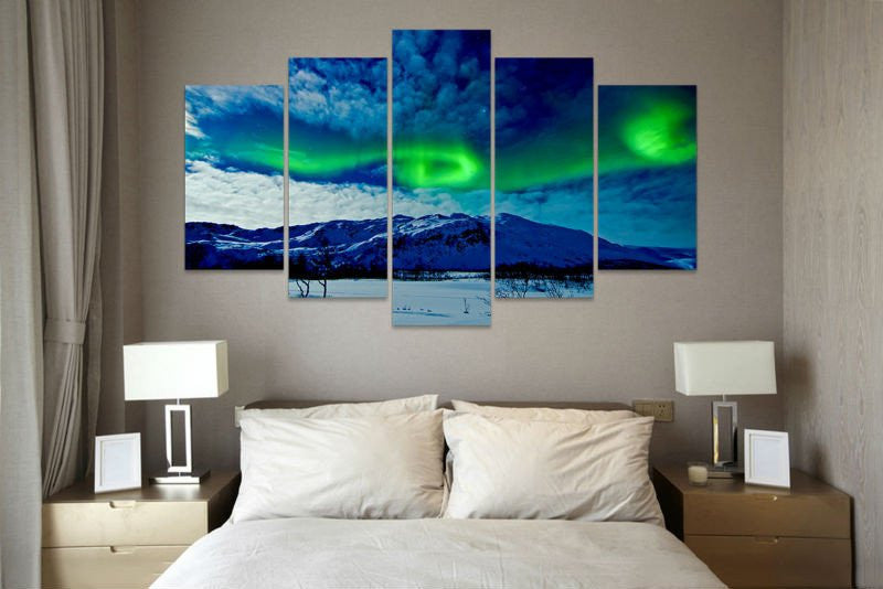 5 Piece AURORA BOREALIS SNOWY HILLS CANVAS - Home Wall Deco
