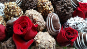 #1814 Sweetheart Special Bouquet Red Roses & Dipped Fruit Bouquet - Magnolia's-Delights