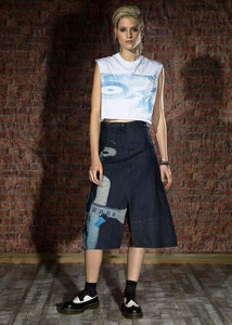 Poly Denim Skirt