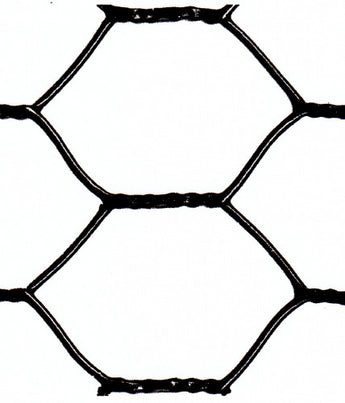 "Hexagonal Netting - Black Vinyl Coated - 20 Gauge - 1"" Chicken Wire - 18""x150'"