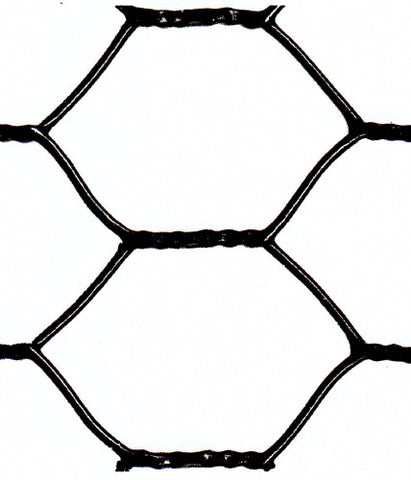 "Hexagonal Netting - Black Vinyl Coated - 20 Gauge - 1"" Chicken Wire - 48""x50'"