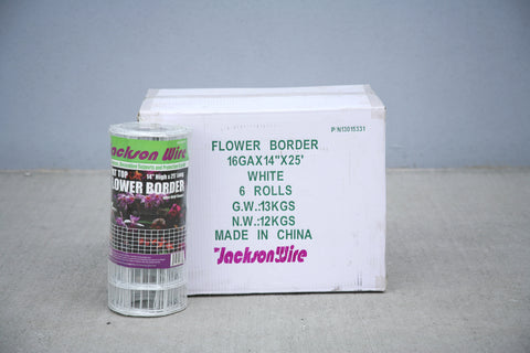 "Lawn/Flower Border - White Vinyl Coated - 14""x25' - 6 pieces"