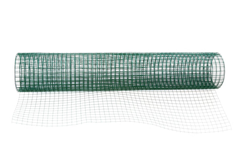 "Hardware Cloth - 19 Gauge - Vinyl Coated Green - Galvanized After Weld (GAW) - 1/2""x1/2"" Mesh - 36""x100'"