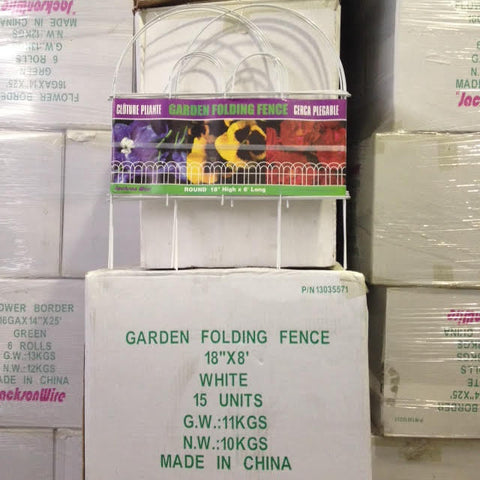 "Folding Lawn Fence - White Vinyl Coated - 18""x18"" - 15 pieces"