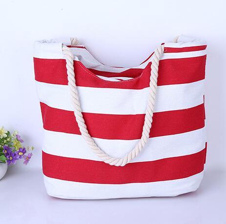 Red and White Striped Canvas Beach