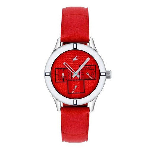 Fastrack NE6078SL09 Monochrome Analog Red Dial Women's Watch