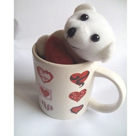 Valentine Love Mug with small teddy-small hearts