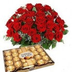 Full Rose bouquet and Chocolate Set