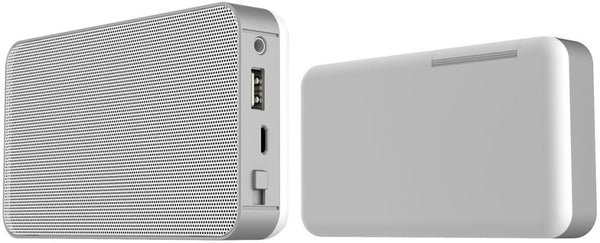 Bluetooth Speaker, 4400mAh Power Bank for Smart Phones - Silver/White & Navy/White