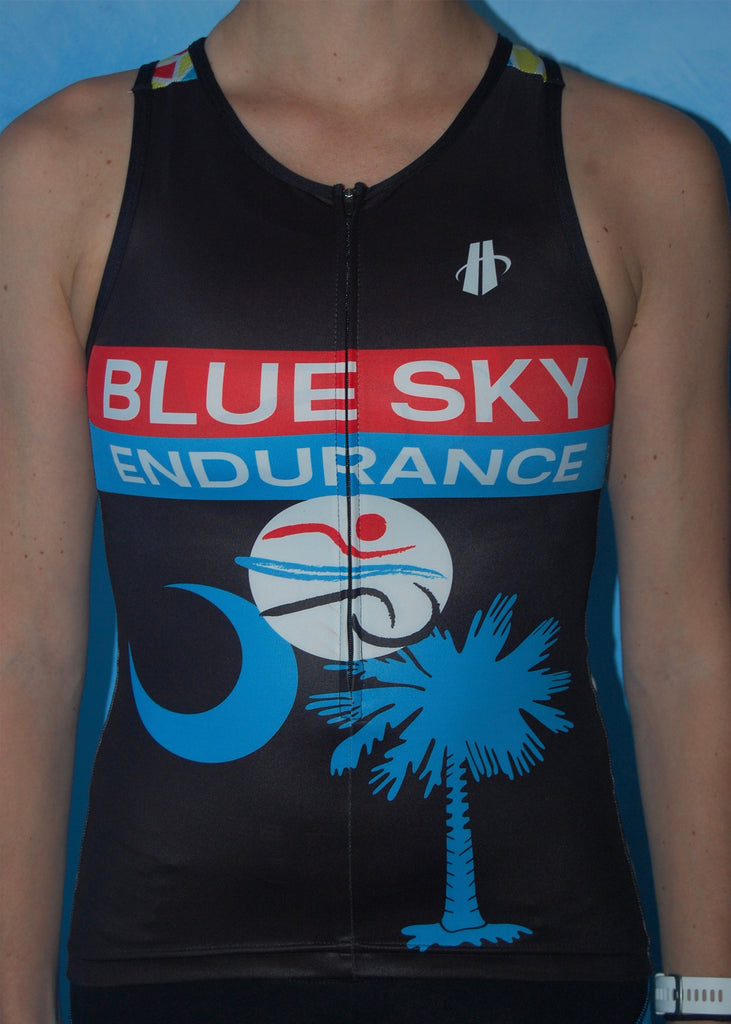Women's Broken Glass Blue Sky Endurance Fluid+ Tri Top